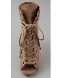 Ash | Natural Iggy Open Toe Lace Up Booties | Lyst