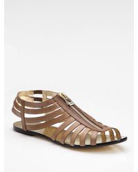 Jimmy Choo - Brown Wish Zip-front Leather Sandal - Lyst