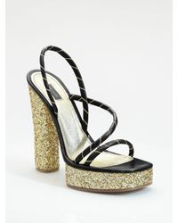 Marc Jacobs | Black Glitter Platform Sandals | Lyst