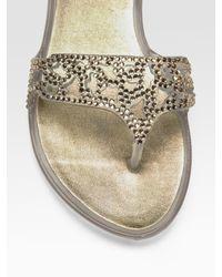 Stuart Weitzman   Metallic One The Rocks Jeweled Jelly Flat Sandals   Lyst
