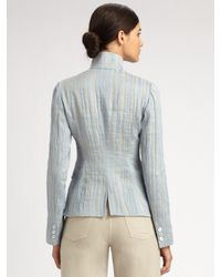 Armani | Blue Linen/silk Three Button Jacket | Lyst