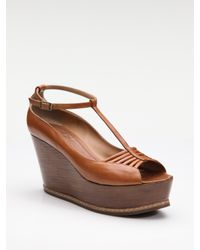 Derek Lam | Brown T-strap Leather Wedges | Lyst