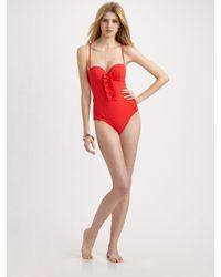 Oscar de la Renta | Red Ruffled One-piece Swimsuit | Lyst