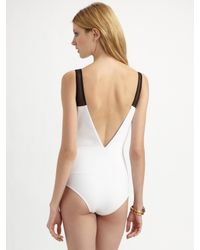 Oscar de la Renta - White Deep-v One-piece Swimsuit - Lyst