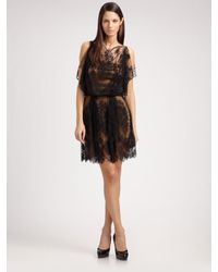 Sophie Theallet - Black Floral Lace & Satin Dress - Lyst