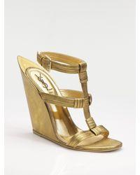 Saint Laurent | Metallic T-strap Wedge Sandals | Lyst