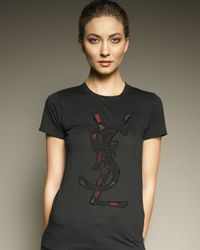 Ash | Black Ysl Rose-applique Logo Tee | Lyst