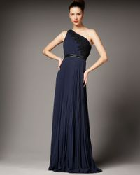 Carmen Marc Valvo | Blue One-shoulder Lace-detail Gown | Lyst