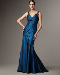 Carmen Marc Valvo - Blue Pleated Taffeta Gown - Lyst