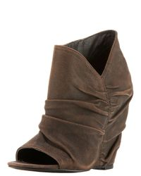 Elizabeth and James | Black Ruched Peep-toe Wedge Bootie | Lyst