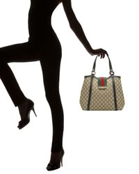 Gucci - Natural New Ladies Web Medium Tote - Lyst