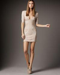 Hervé Léger   Natural Jacquard Paneled Bandage Dress   Lyst