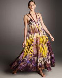 Jean Paul Gaultier | Purple Tiered Palm-print Maxi Dress | Lyst