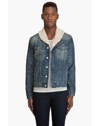 Paul Smith - Blue Denim Sherpa Jacket for Men - Lyst