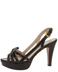 Prada | Black Bow Platform Slingback Sandal | Lyst