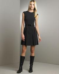 Prada | Black Pleated Techno Dress | Lyst