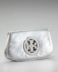 Tory Burch - Metallic Logo Clutch - Lyst