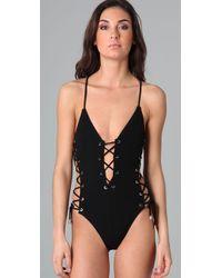 Michael Kors | Black Lace-up One-piece Swimsuit | Lyst