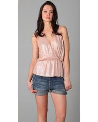 Parker | Pink Baby Sequin Wrap Top | Lyst