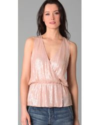 Parker - Pink Baby Sequin Wrap Top - Lyst