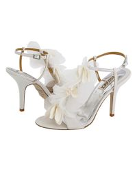 Badgley Mischka | White Randee High Heel Ruffle Flower Sandals | Lyst