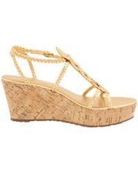 kate spade new york - Beachy Metallic Leather Wedge Sandals - Lyst