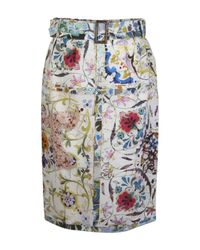 Etro | Green Floral Print Belted Skirt | Lyst