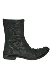 A Diciannoveventitre | Black Bitextured Horsehide Low Boots for Men | Lyst
