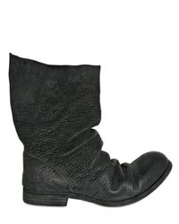 A Diciannoveventitre | Black Textured Horsehide Pull On Boots for Men | Lyst