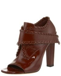 Alexander Wang | Brown Cecilia Whipstitched Patent Bootie | Lyst