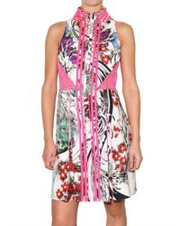 Christopher Kane | Multicolor Printed Fluo Piping Georgette Dress | Lyst