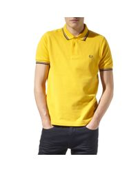 Fred Perry | Yellow Slim Fit Piqué Polo Shirt for Men | Lyst