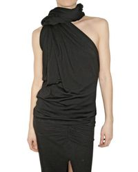 Haider Ackermann | Black Silk Jersey Draped Scarf Top | Lyst