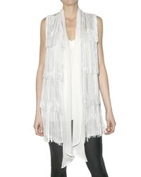 Hotel Particulier | White Chiffon and Leather Fringe Vest | Lyst