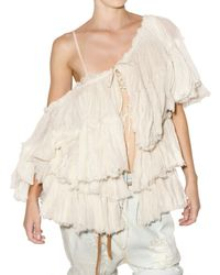 Mes Demoiselles   White Cotton Ruffle Gauze Top   Lyst