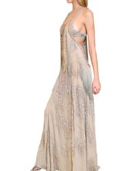 Roberto Cavalli | Natural Fringed Long Georgette Dress | Lyst