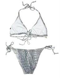 Roberto Cavalli | Blue Croc Print Lycra Bikini Bathing Suit | Lyst