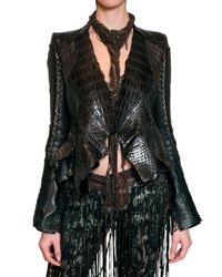 Roberto Cavalli | Brown Patchwork Croc and Ostrich Leather Jacke | Lyst