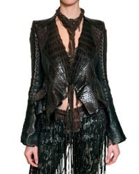 Roberto Cavalli - Brown Patchwork Croc and Ostrich Leather Jacke - Lyst