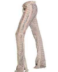 Roberto Cavalli | Gray Croc Print Crepe De Chin and Leather Tro | Lyst