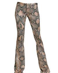 Roberto Cavalli - Natural Python Print Satin Trousers - Lyst