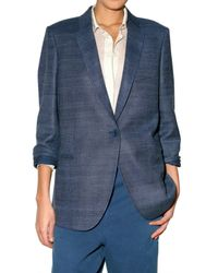 Stella McCartney | Blue Oversized Silk-tussah and Linen-blend Blazer | Lyst
