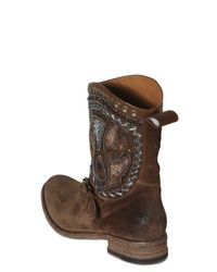 Strategia - Brown Suede Embroidery Beaded Lo Boots - Lyst
