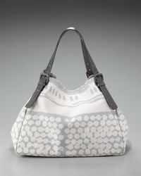 Bottega Veneta - Gray Printed Canvas Tote - Lyst