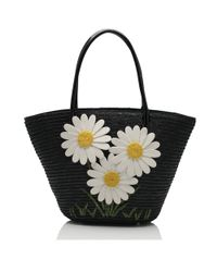 Lulu Guinness | Black Straw Bonnie Basket | Lyst