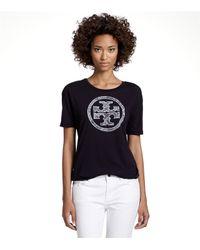 Tory Burch | Black Boresca Logo Tee | Lyst