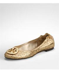 Tory Burch | Metallic Reva Glitter Ballet Flats | Lyst
