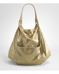 Tory Burch | Metallic Leather Dean Oversized Hobo | Lyst
