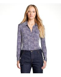 Tory Burch | Blue Long Edie Blouse | Lyst