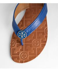 Tory Burch - Blue Tumbled Leather Thora Sandal - Lyst